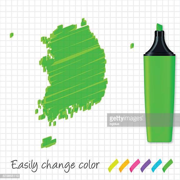 Südkorea Karte handgezeichnet auf Raster Papier, grüner Leuchtmarker