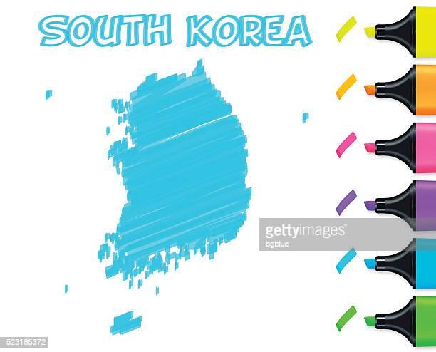 Südkorea Karte handgezeichnet auf weißem Hintergrund, blau Textmarker