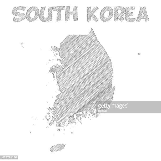 Südkorea Karte handgezeichnet auf weißem Hintergrund