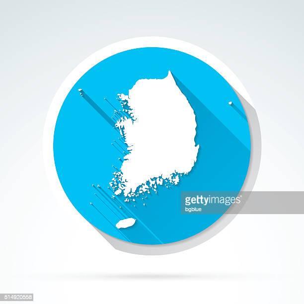 Korea South map icon, Flat Design, Long Shadow