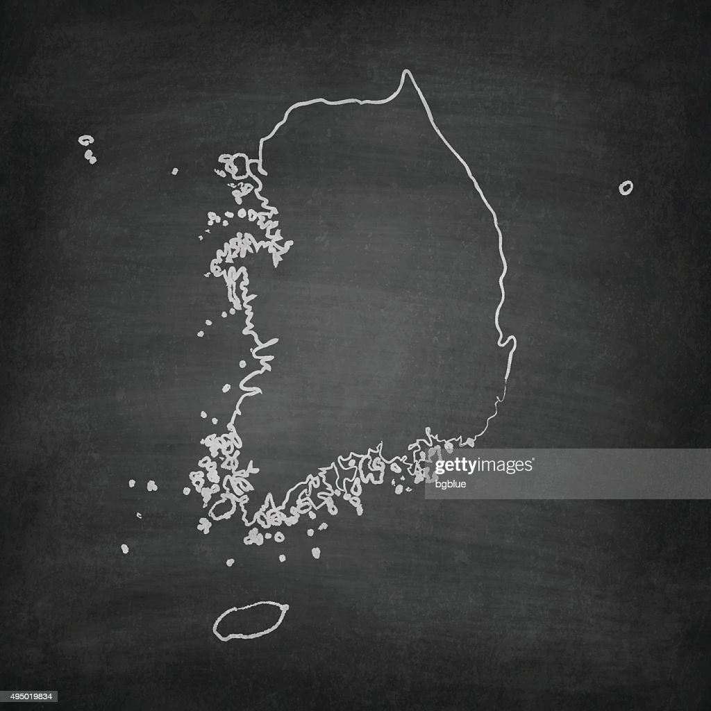 Korea South Map on Blackboard - Chalkboard : stock illustration