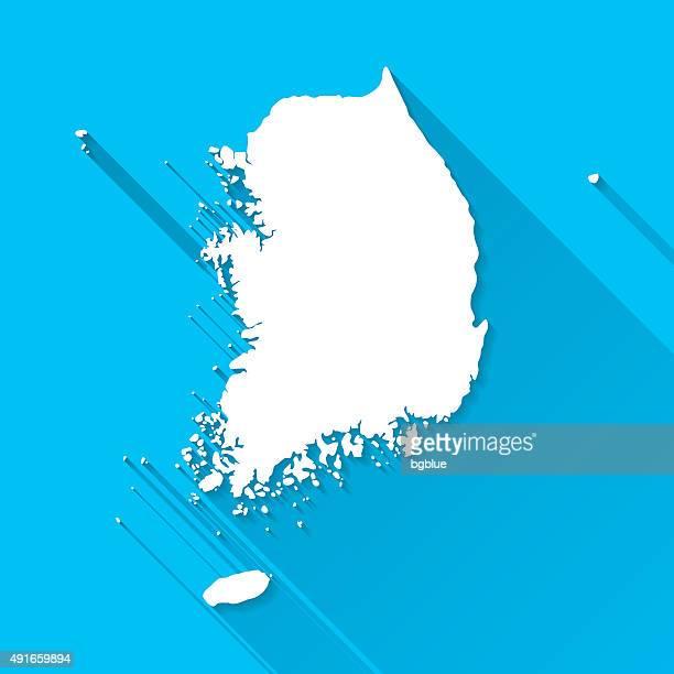 Südkorea Karte auf blauem Hintergrund, lange Schatten, Flat-Design