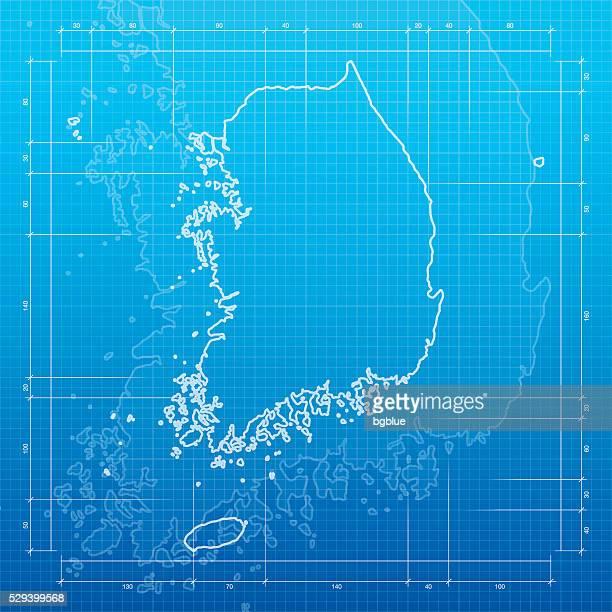 Südkorea Karte auf Bauplan-Hintergrund
