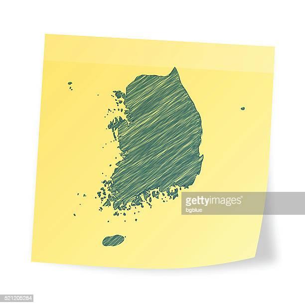 Südkorea Karte auf Klebezettel mit scribble-Effekt