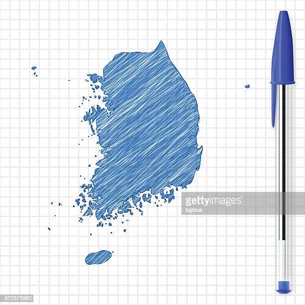 Südkorea Karte Skizze auf Raster, blauen Stift und Papier