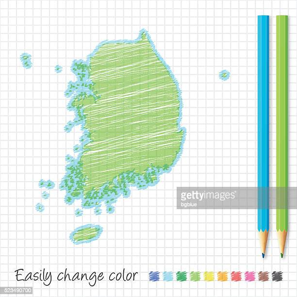 Südkorea Kartenskizze mit Farbstiften, auf Rasterpapier