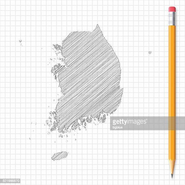Südkorea Karte Skizze mit Bleistift auf Raster Papier