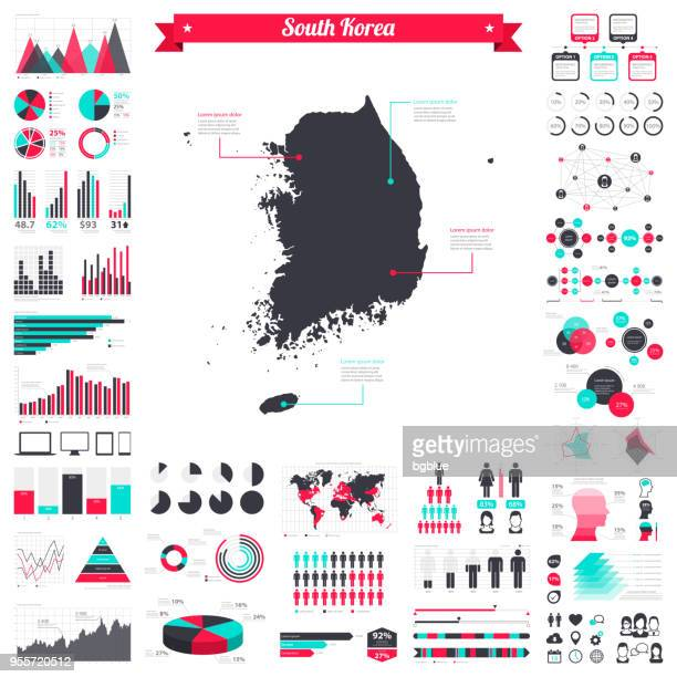 korea south map with infographic elements - big creative graphic set - south korea stock illustrations, clip art, cartoons, & icons
