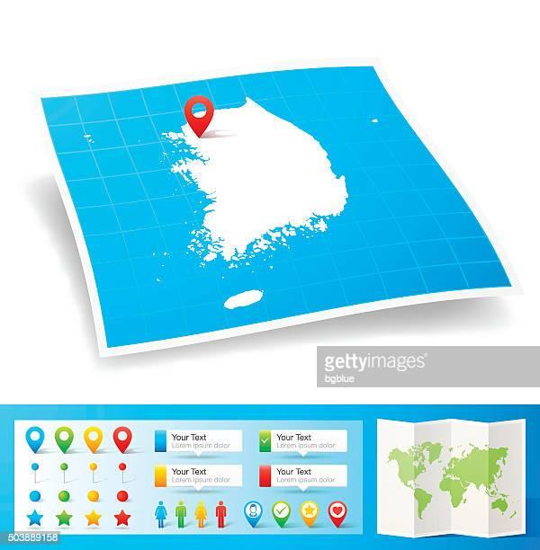 Südkorea-Karte mit Lage pins, isoliert auf weißem Hintergrund