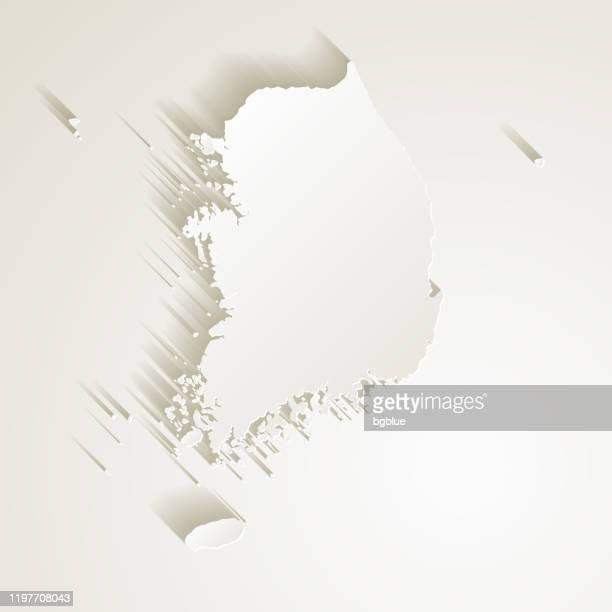 korea south map with paper cut effect on blank background - south korea stock illustrations