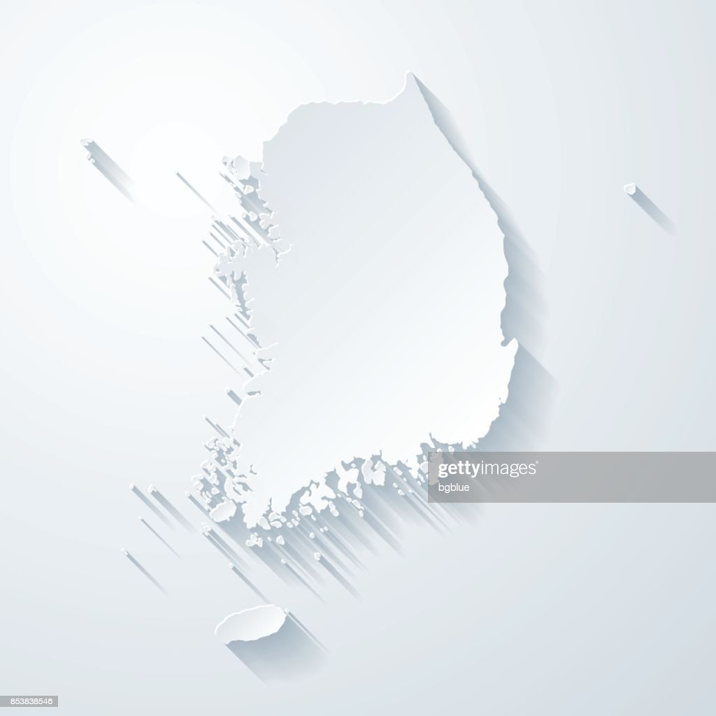 Korea South map with paper cut effect on blank background : stock illustration