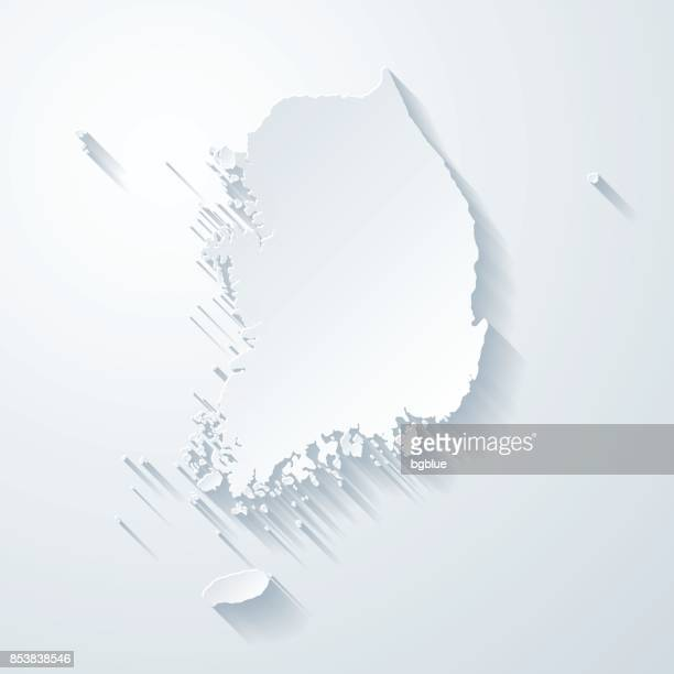 korea south map with paper cut effect on blank background - south korea stock illustrations, clip art, cartoons, & icons