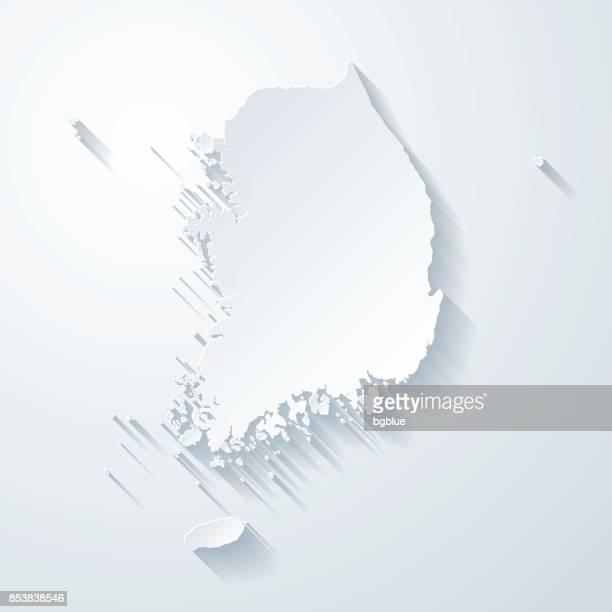 Südkorea-Karte mit Papier geschnitten Wirkung auf leeren Hintergrund