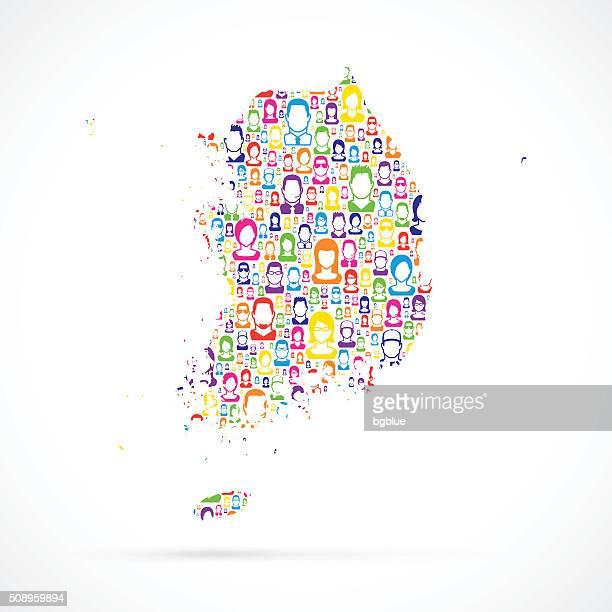 Südkorea-Karte mit Personen