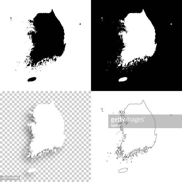 Korea Süd Karten für Design - leere, weiße und schwarze Hintergründe