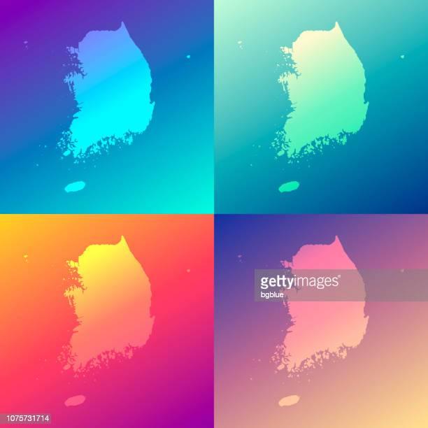 Südkorea-Karten mit bunten Gradienten - trendige Hintergrund