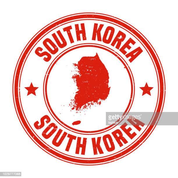 Südkorea - rote Grunge-Stempel mit Namen und Karte