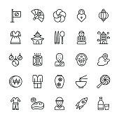 Korea Symbols Icons Set