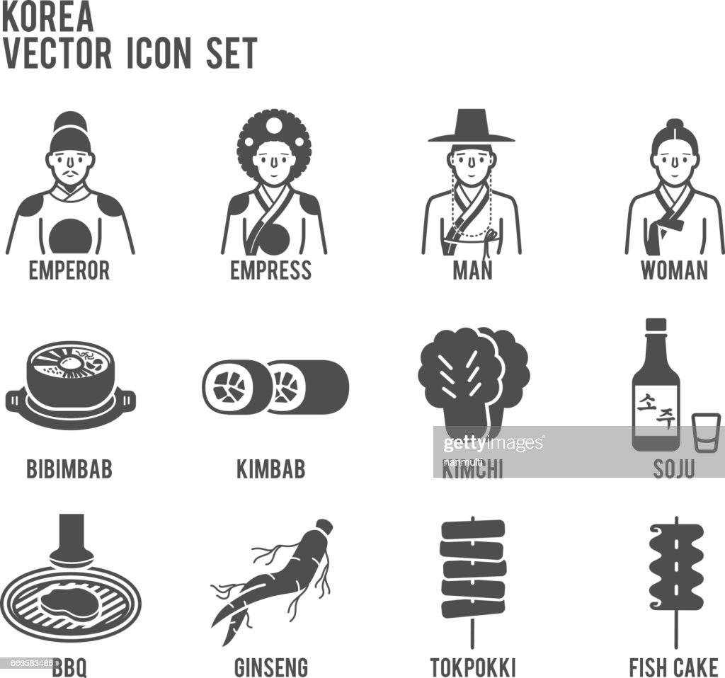 Korea Traditional Signature Food Vector Icon Set
