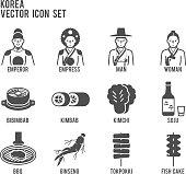 Korea Traditional Signature Food Vector Icon Set