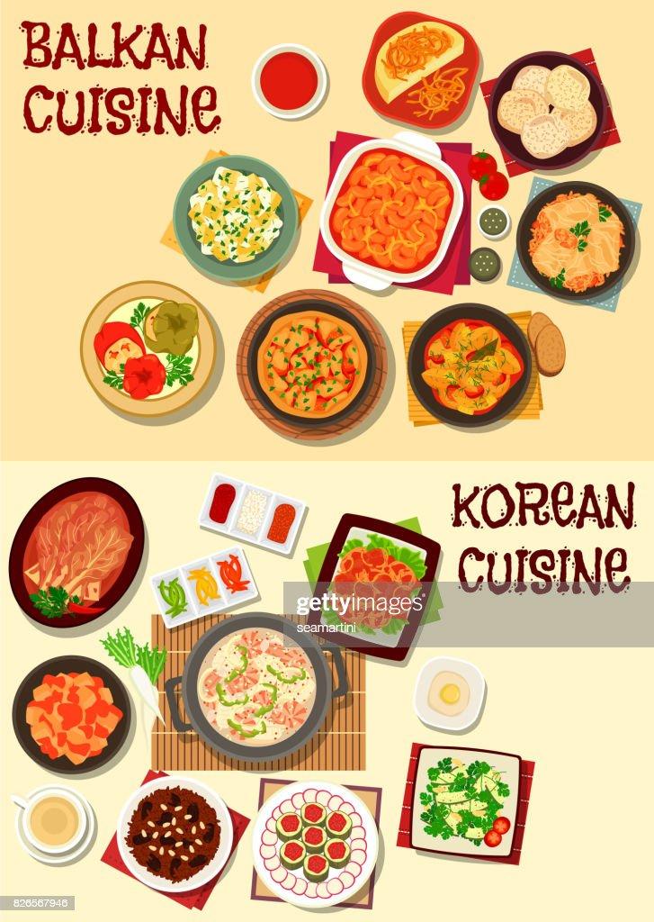 Korean and balkan cuisine dinner icon set