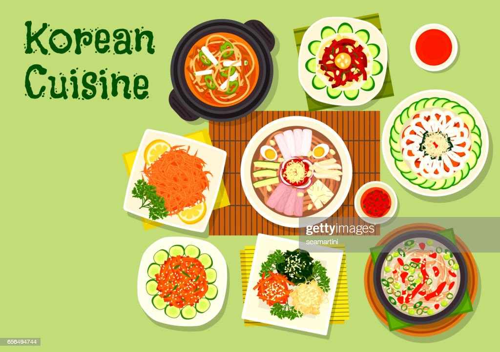 Korean cuisine dishes icon for asian menu design