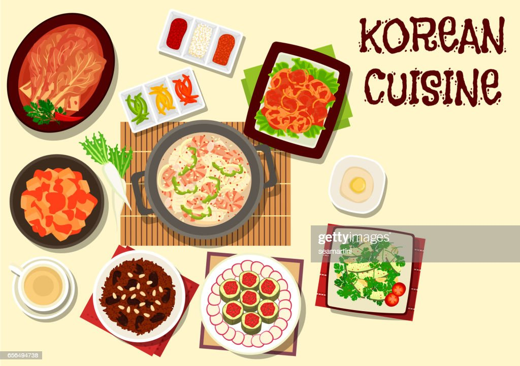 Korean cuisine icon for restaurant menu design