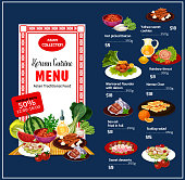 Korean cuisine traditional dishes, vector