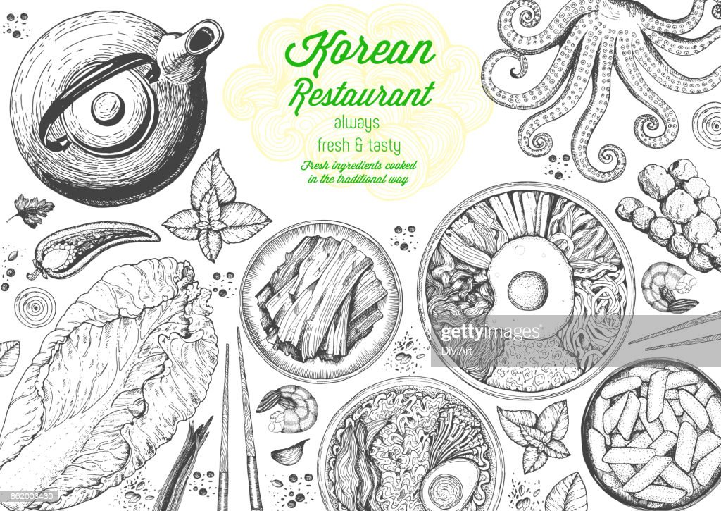 Korean food menu restaurant. Korean food sketch menu. Asian food background. Asian food poster. Set of dishes: bibimbap, kimchi, tteok-bokki, ramen. Vector illustration