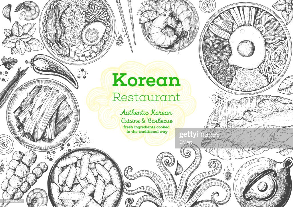 Korean food menu restaurant. Korean food sketch menu. Asian food background. Asian food poster. Set of dishes: bibimbap, kimchi, tteok-bokki, ramen. Vector illustration.