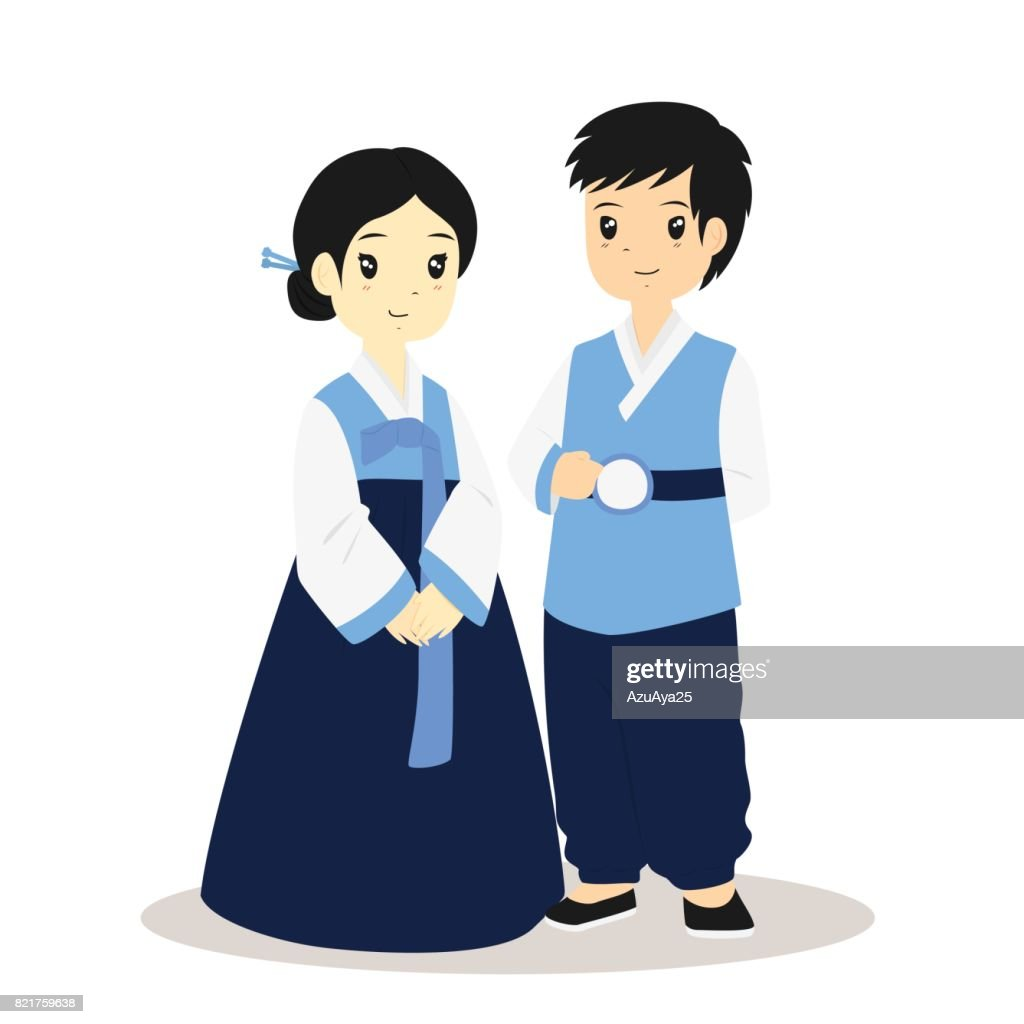 Korean Hanbok, Traditional Dress Vector