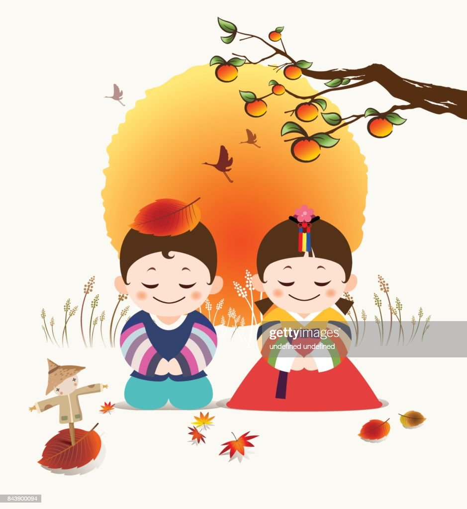 Korean Happy Autumn Festivals. Korean traditional Hanbok costume man and a girl character greet you under a red large full moon and a persimmon tree. (Warm traditional background)