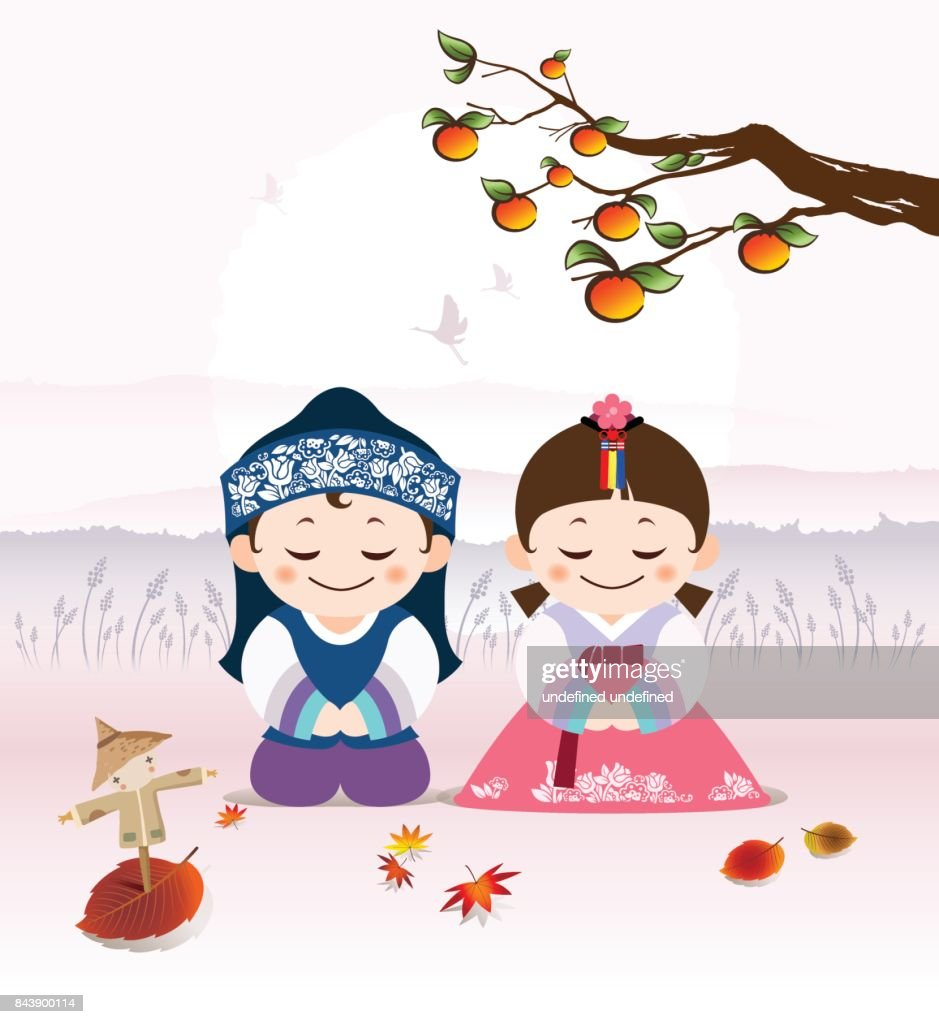 Korean Happy Autumn Festivals. Korean traditional Korean costume man and girl character greet you under a full moon and a persimmon tree. (Pink color background)