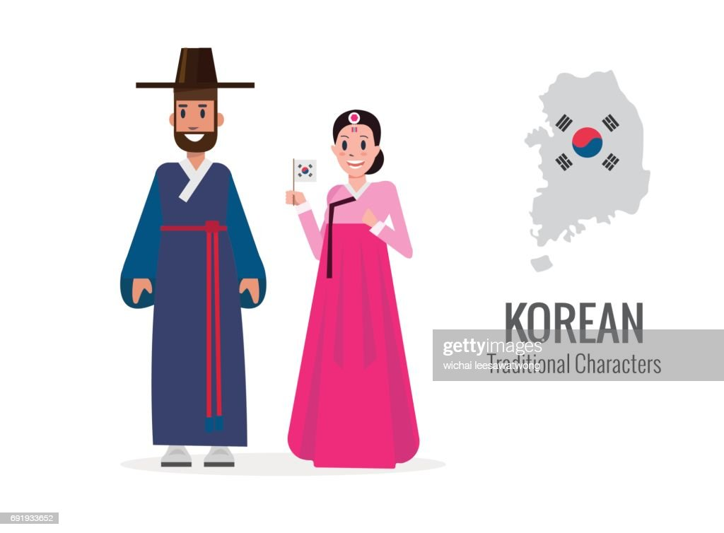 Korean man and woman in traditional costume.