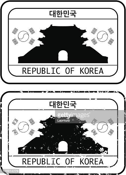 korean passport stamp - seoul stock illustrations, clip art, cartoons, & icons