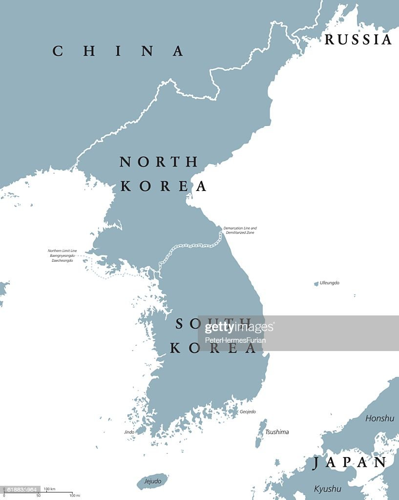Korean peninsula countries political map