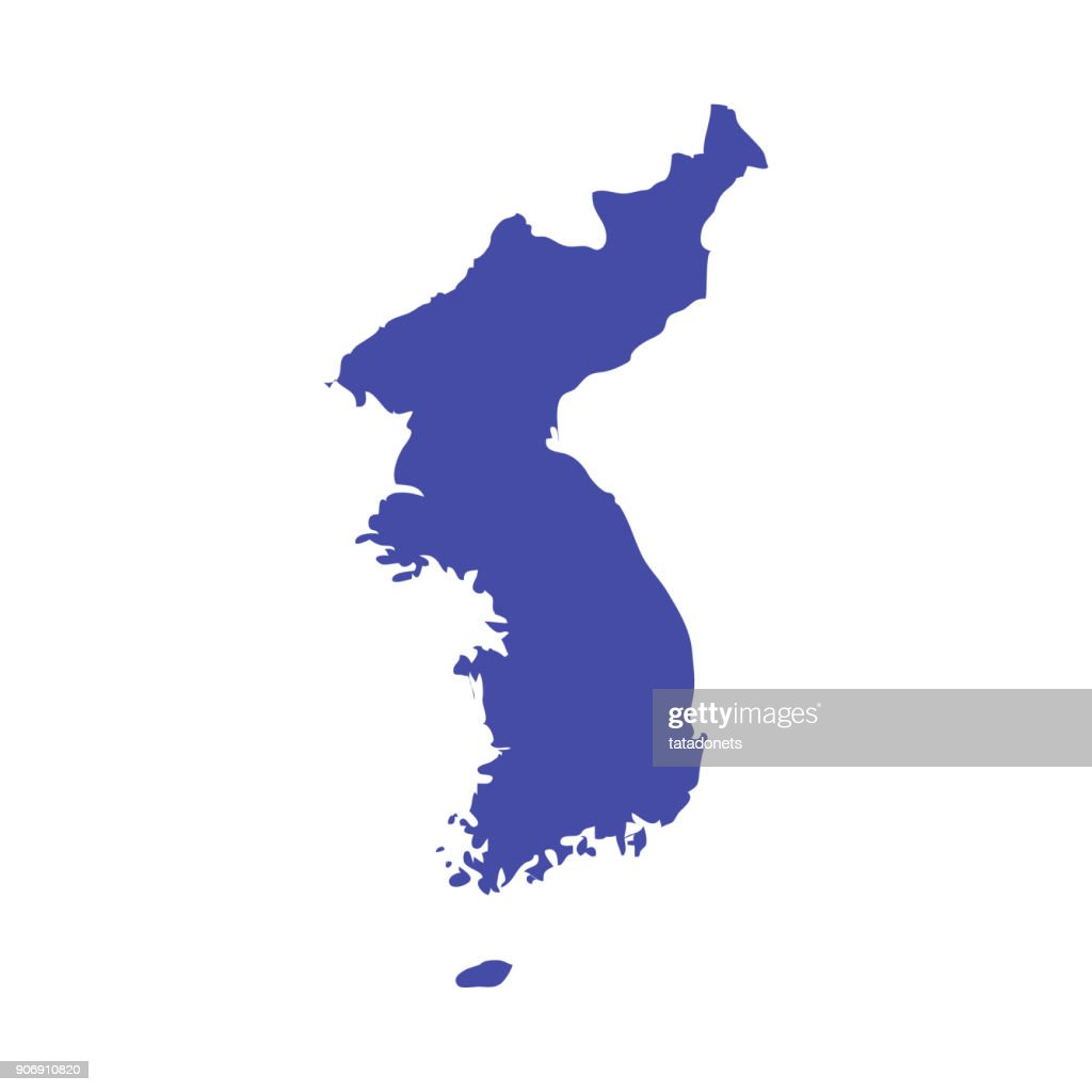 Korean Peninsula vector map. United Korea map contour.