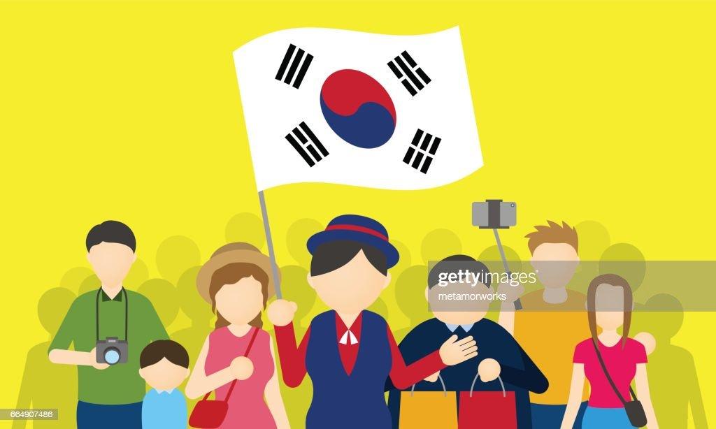 korean tourists and tour guide, Inbound tourism, vector illustration