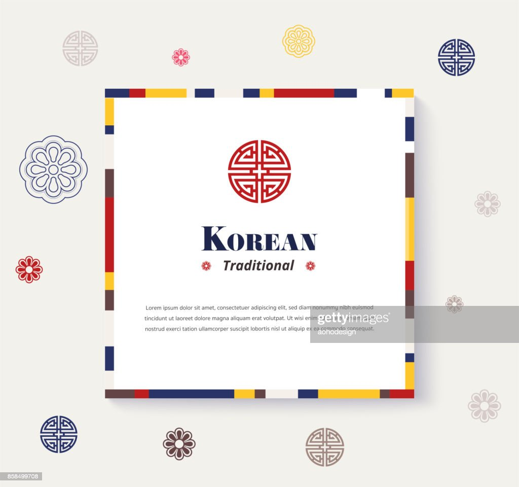 Korean traditional frame design. strip color design frame. vector illustration.