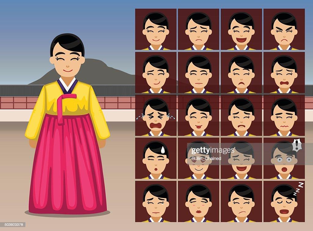 Korean Woman Cartoon Emotion faces Vector Illustration