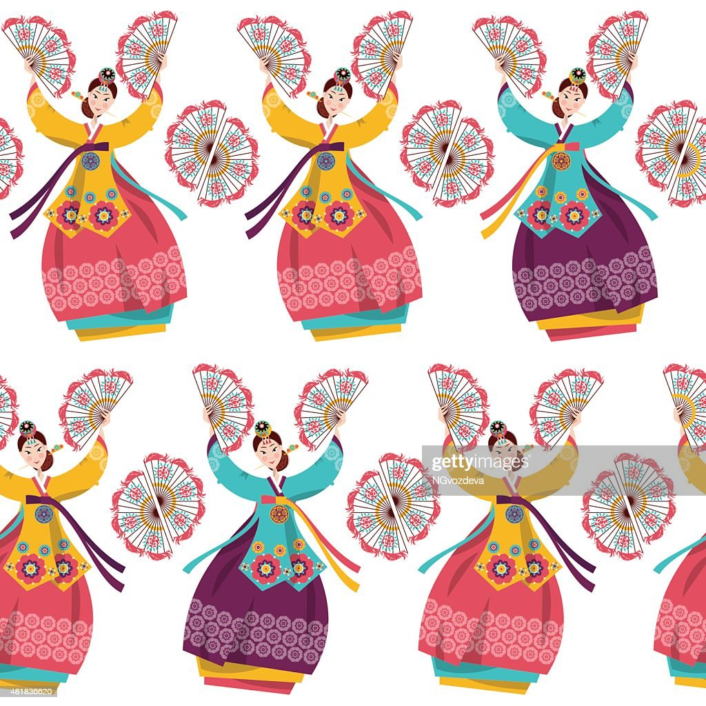 Korean women performing a traditional fan dance. Seamless background pattern.