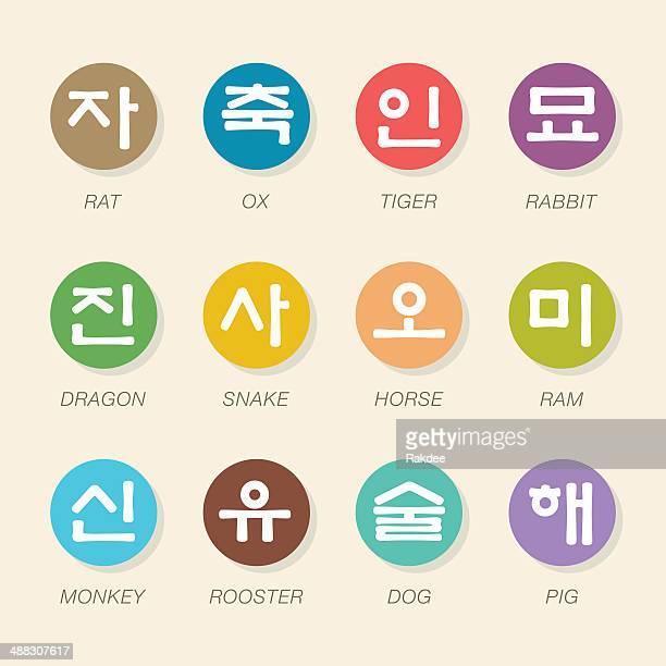 ilustraciones, imágenes clip art, dibujos animados e iconos de stock de korean zodiac caracteres iconos-color círculo serie - cultura coreana