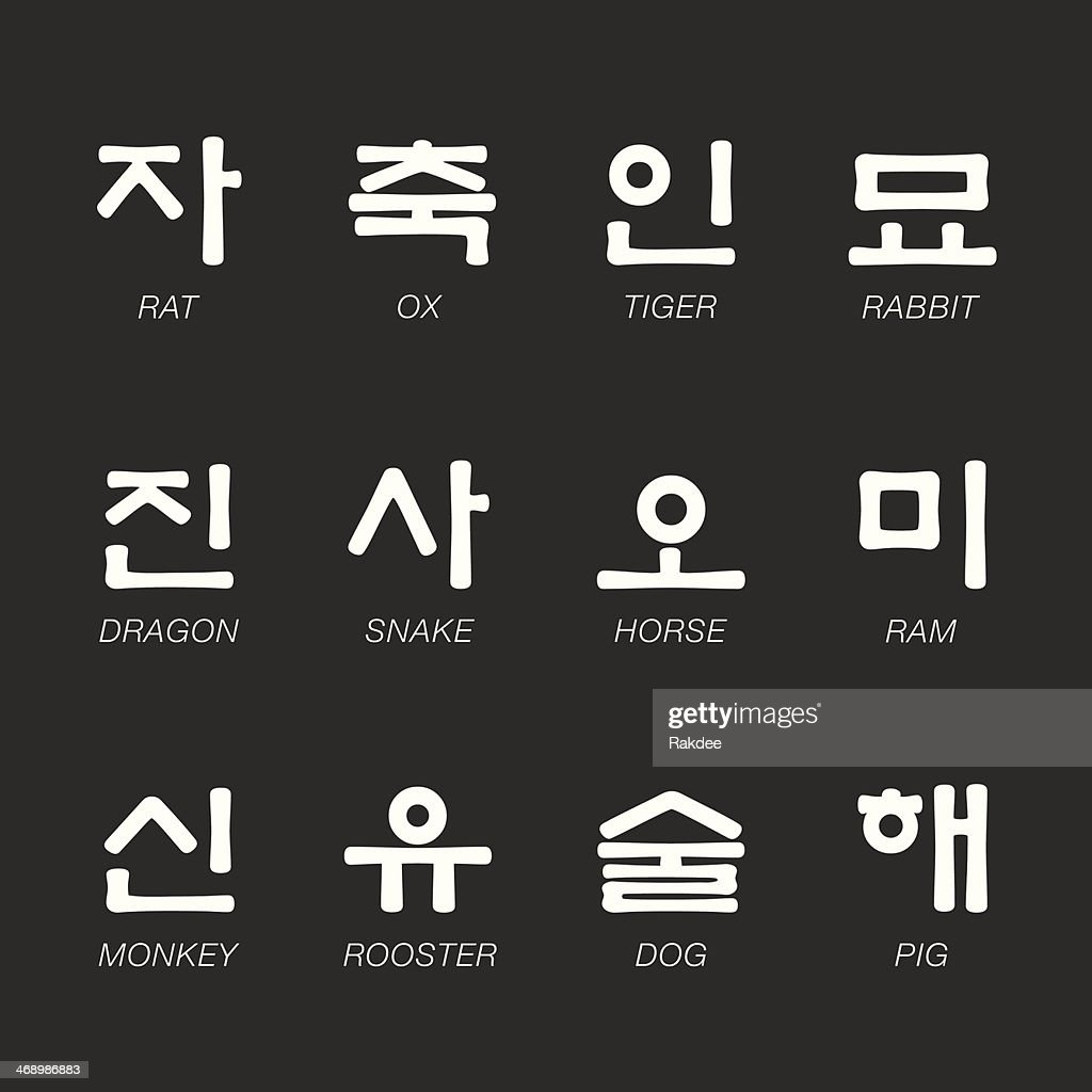 Korean Zodiac Characters Icons - White Series