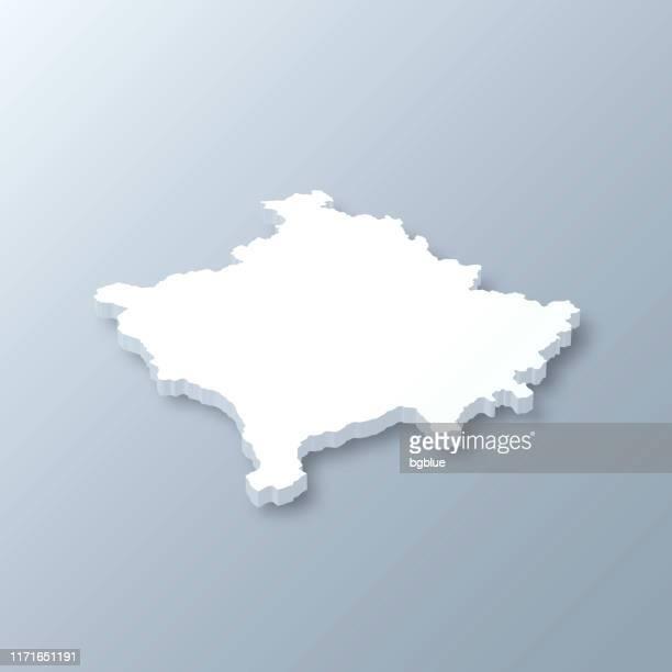Kosovo 3D Map on gray background