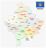kosovo administrative and political map with flag