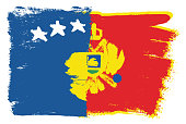 Kosovo Flag & Montenegro Flag Vector Hand Painted with Rounded Brush