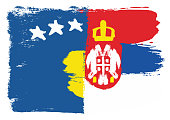 Kosovo Flag & Serbia Flag Vector Hand Painted with Rounded Brush