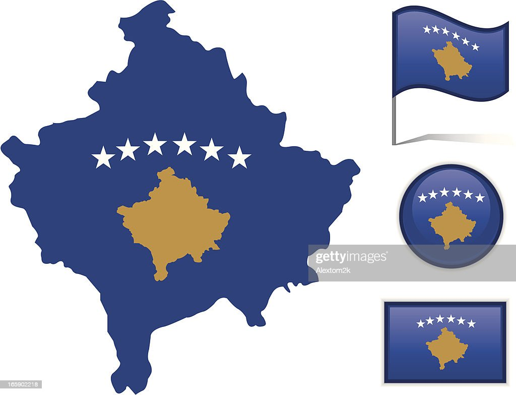 Kosovo Map Flag Vector Art Getty Images