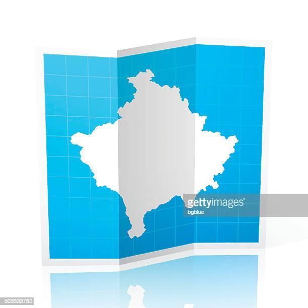 Kosovo Map folded, isolated on white Background