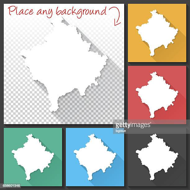 Kosovo Map for design, Long Shadow, Flat Design